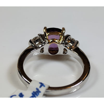 Purple Cushion Cut Unheated Sapphire and Diamond Ring in 14K White Gold-The Pink Pigs, A Compassionate Boutique