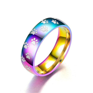 Rainbow Paw Rings, Very Cute!  Little paws on the rings, Stainless Steel.