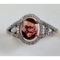 Rare 1.53ct Unheated Natural Orange Sapphire with .31cts Diamonds in 14K Rose Gold-The Pink Pigs, A Compassionate Boutique