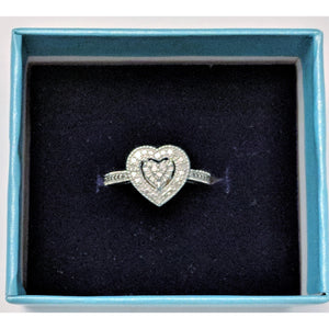 REAL Diamond Heart Ring-Romance, Diamonds, Affordable? YES! Silver Makes it So!-The Pink Pigs, A Compassionate Boutique