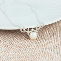 Reindeer Shell Pearl Necklace and Earrings in 925 Silver, Perfect for Christmas!-The Pink Pigs, A Compassionate Boutique