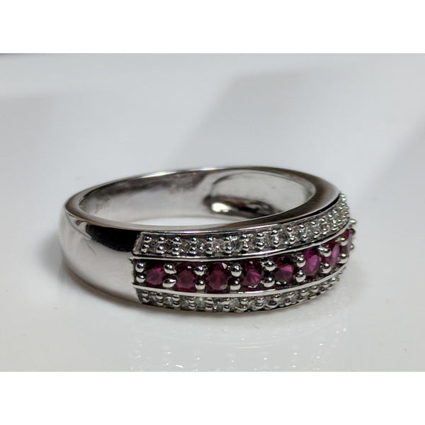 Rhodolite Garnet and Diamond Eternity Style Ring in 10K White Gold, sz 7, Beautiful! .61ctw-The Pink Pigs, A Compassionate Boutique