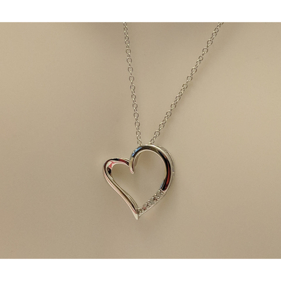 Romantic Heart Necklace with Diamond Accents in Solid Silver