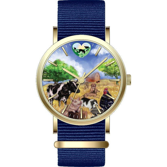 Rooterville Farm Animal and Logo Fine Watches-Originals! Farm Animal Watch Pig watch Fundraiser-The Pink Pigs, A Compassionate Boutique