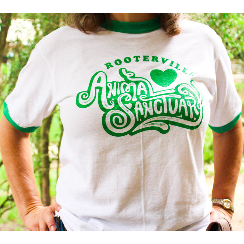 Rooterville Retro Ringer T-Shirt--Look Great Sharing Rooterville with the World! - The Pink Pigs, A Compassionate Boutique