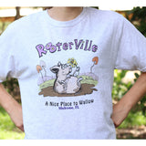 Rooterville's Nice Place to Wallow T-Shirt- Unisex, Heather Gray or White-The Pink Pigs, A Compassionate Boutique