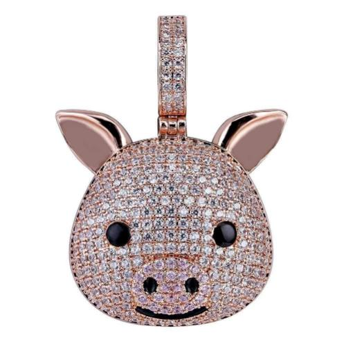 Pig Pendant Rose Gold Plated Solid Sterling Silver--