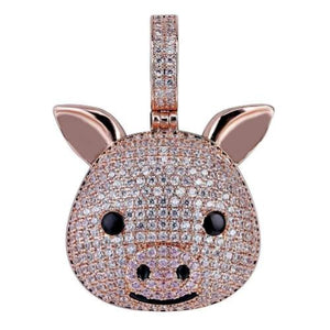 "Pig Pendant Rose Gold Plated Solid Sterling Silver--""Lily"" GORGEOUS! BLING!"