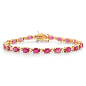 Ruby and Diamond Bracelet in 14K Gold-Stunning! Genuine Rubies and Diamonds