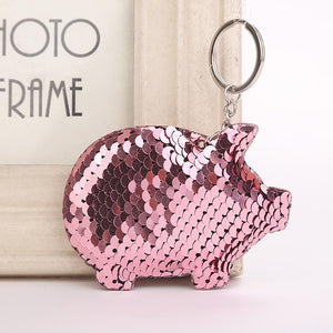 FUN Glittering Sequin Keychains!  Pig, Mouse, Unicorn, Butterfly, Christmas Tree, MORE! - The Pink Pigs, Fine Jewels and Gifts for People who Love Animals!
