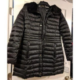 Shelli Segal Puffer Coat Faux Fur Trim, Black, Medium VEGAN, CLEARANCE!-The Pink Pigs, A Compassionate Boutique