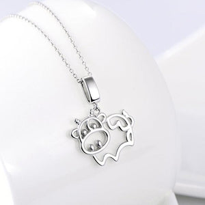 Silver Cow Necklace, Bovine Love at First Sight! 925 Sterling Silver
