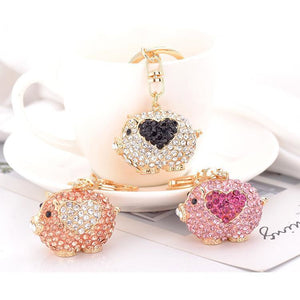 Sparkling Cute Pig with a Heart OR Kitty Cat Keychains!