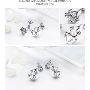 Spider and Pearl Earrings and Ring in Sterling Silver,  Adorable!