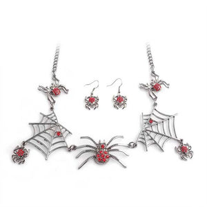 Spider Necklace for Halloween!  Red Sparkling Spiders on Black Webs