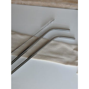 Stainless Steel or Silicone Straw Sets with Cleaning Brush and Carry Bag, Perfect for the Environmentally Conscientious!