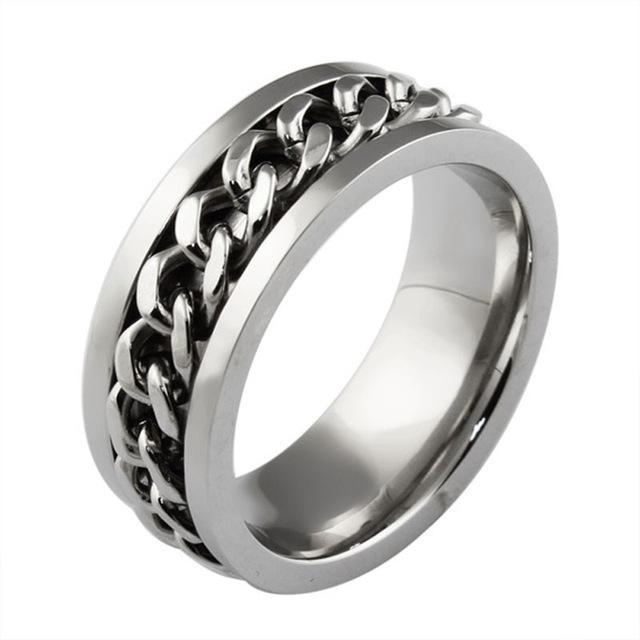 Stainless Steel & Titanium Ring with Chain Spinner Inset in Gold, Silver or Black! Great Ring for Bikers, Gear Heads! - The Pink Pigs, A Compassionate Boutique