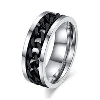 Stainless Steel & Titanium Ring with Chain Spinner Inset in Gold, Silver or Black! Great Ring for Bikers, Gear Heads!-The Pink Pigs, A Compassionate Boutique
