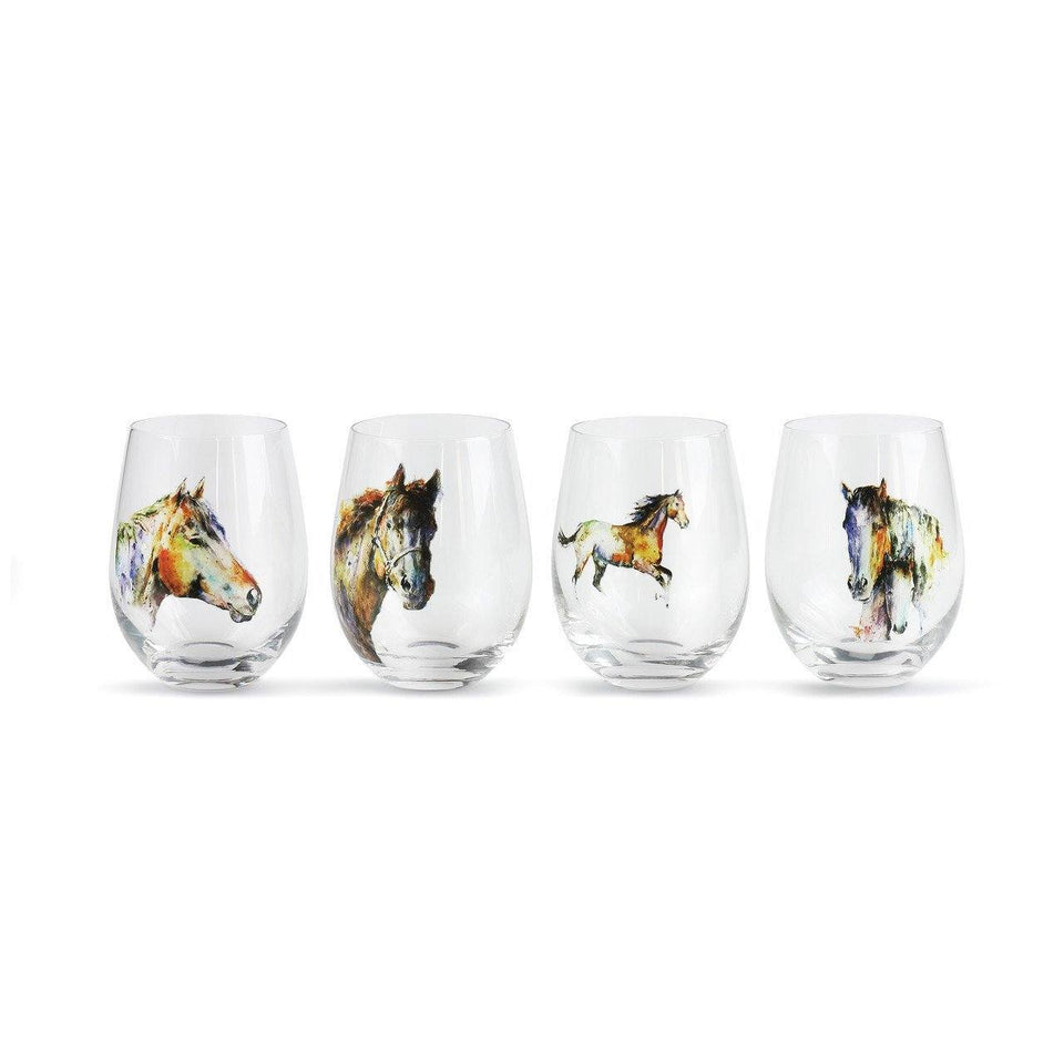 Stemless Wine Glasses-Glorious Nature and Horse Inspired Artwork