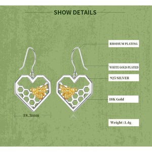 Sterling Silver Bees in Honey Comb Heart Earrings