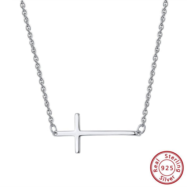 Sterling Silver Cross Necklace-Elegant Sideways Cross-The Pink Pigs, A Compassionate Boutique