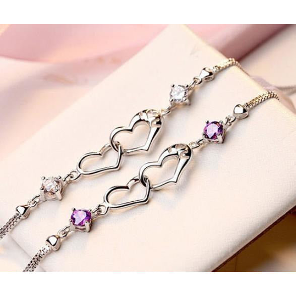 Sterling Silver Heart Bracelets in Clear or Purple CZ, Beautiful Gift!-The Pink Pigs, A Compassionate Boutique