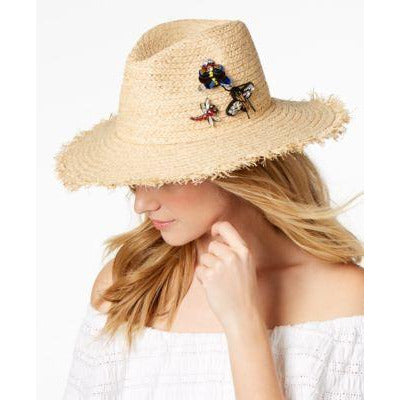 Straw Hat with Sequin Bee, Butterfly and Dragonfly, Adorable! Steve Madden - The Pink Pigs, A Compassionate Boutique