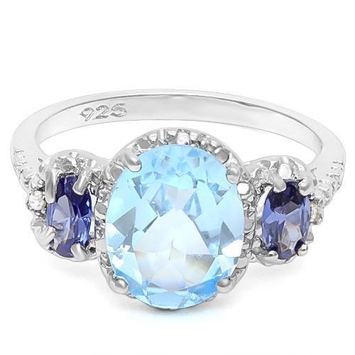 Stunning Swiss Blue Topaz, Lab Created Tanzanite and REAL Diamond Ring-The Pink Pigs, A Compassionate Boutique