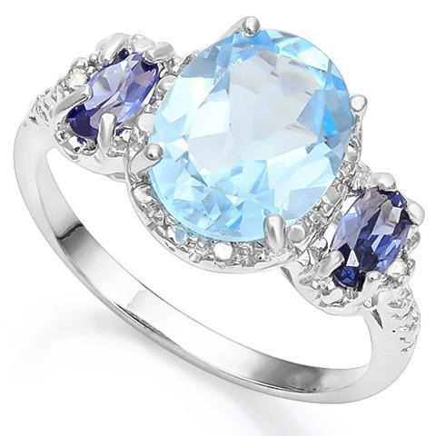 Stunning Swiss Blue Topaz, Lab Created Tanzanite and REAL Diamond Ring - The Pink Pigs, A Compassionate Boutique