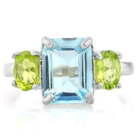Swiss Baby Blue Topaz & 2ct Peridot Sterling Silver Ring-The Pink Pigs, A Compassionate Boutique