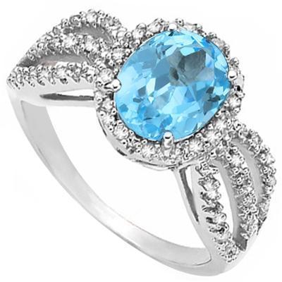 Swiss Blue Topaz and Diamond 3 Shoulder Ring, Classic Beauty!-The Pink Pigs, A Compassionate Boutique