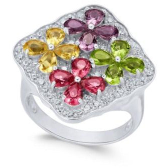 Synthetic Multi-Stone & CZ Cluster Ring in Sterling Silver Sz 7-The Pink Pigs, A Compassionate Boutique