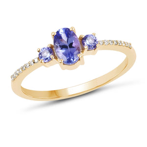 Tanzanite and Diamond 3 Stone Ring in Solid 14K Yellow Gold, So Elegant and Dainty!