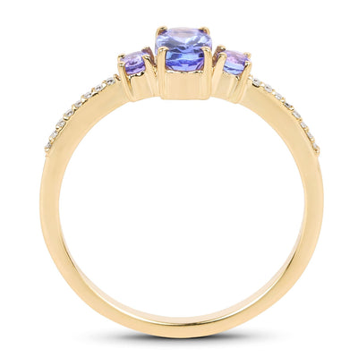 Tanzanite and Diamond 3 Stone Ring in Solid 14K Yellow Gold, So Elegant and Dainty!-The Pink Pigs, A Compassionate Boutique