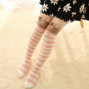 Thigh High Fuzzy Socks, Leggings Adorable Animals to Keep Legs Warm!