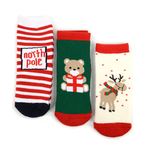 Toddler 3Pk Christmas Socks, so CUTE!  Help rescued animals!