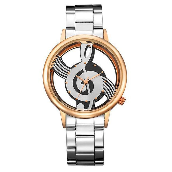 Treble Clef Music Lover's Watch, Stainless Steel Exhibition Case, Perfect Gift!-The Pink Pigs, A Compassionate Boutique