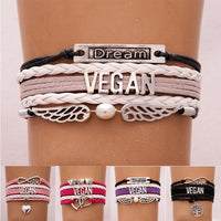 Trendy Vegan Multi-Layer Bracelet, Faux Leather in Variety of Colors and Charms-The Pink Pigs, A Compassionate Boutique