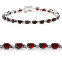 Two Genuine Garnet Bracelets in 925 Sterling Silver Both are Beautiful, 10.71cts & 12.5cts!-The Pink Pigs, A Compassionate Boutique