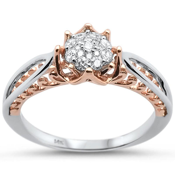 Two-Tone 14K Engagement/Promise Ring .21ctw Genuine Diamonds-The Pink Pigs, A Compassionate Boutique