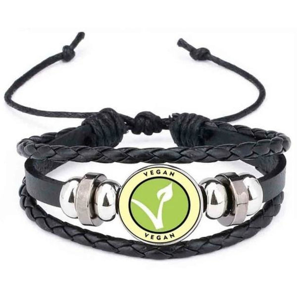 Unisex Vegan Faux Leather Multi-layer Bracelet Spread the Message of Compassion!-The Pink Pigs, A Compassionate Boutique
