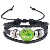 Unisex Vegan Faux Leather Multi-layer Bracelet Spread the Message of Compassion! - The Pink Pigs, A Compassionate Boutique