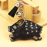 Wild Boar Keychain-Super Sparkly PVC Leather with Tassel CUTE!