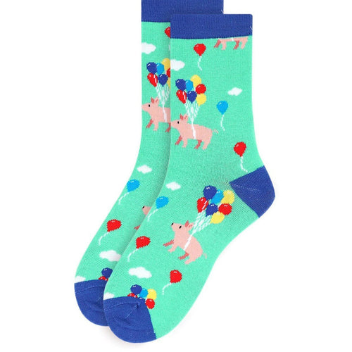 Women's Cute Pigs with Balloons Socks--Pigs Trying to Fly!