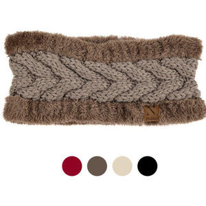 Women's Thick Fleece Lined Faux Fur and Cable Knit Head Band