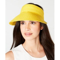INC International Concepts Womens Solid Straw Visor - Yellow-The Pink Pigs, A Compassionate Boutique