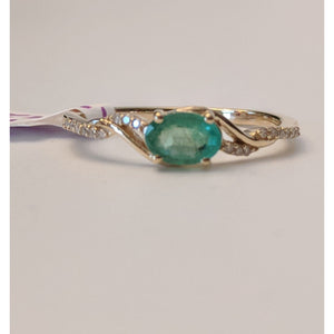 Zambian Emerald with Diamonds in 14K Gold, Exquisite yet Affordable!