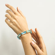 Prasiolite & Blue Topaz Cushion Bracelet