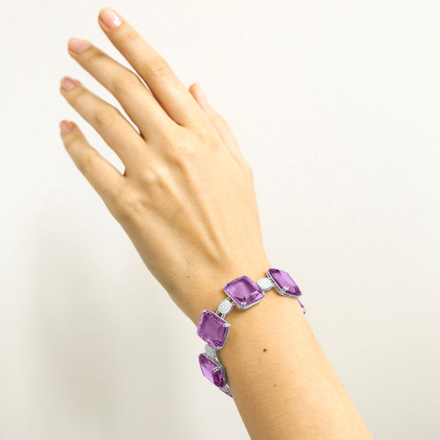 Amethyst Faceted Flat Cushion Bracelet with Diamonds