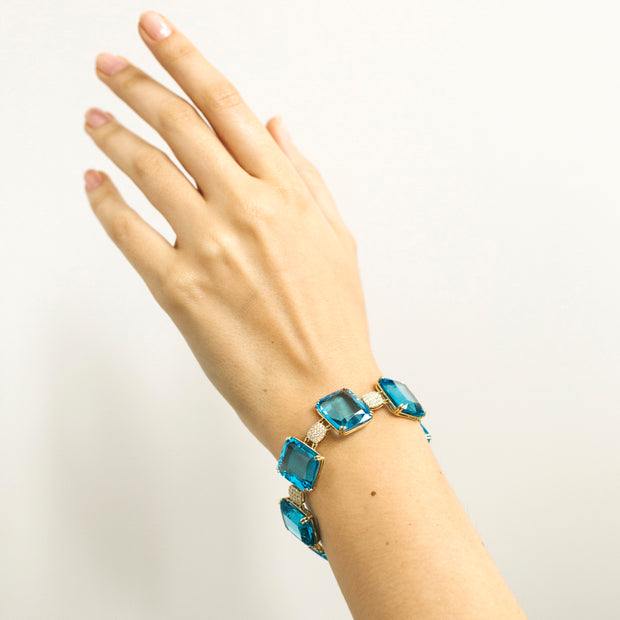 Blue Topaz Faceted Flat Cushion Bracelet with Diamonds